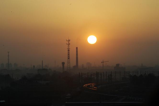 La pollution de l'air dans la province chinoise du Xi'an, en octobre 2006.