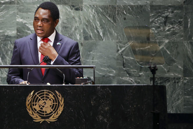 Le président de la Zambie, Hakainde Hichilema, lors de la 76e session ordinaire de l'assemblée générale des Nations unies, à New York, le 21 septembre 2021.