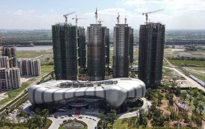 Le projet immobilier Evergrande Cultural Tourism City, dont le chantier est à l'arrêt,à Suzhou (Jiangsu), dans l'est de la Chine, le 17 septembre 2021.