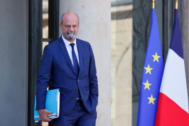 Le ministre de l'éducation nationale, Jean-Michel Blanquer, sort de l'Elysée, le 22 septembre 2021.