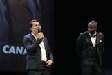 Les acteurs Brahim Bouhlel (à gauche) et Saidou Camara, à Cannes, en octobre 2020.