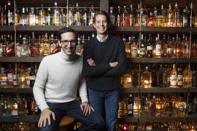 Les fondateurs du groupe de restauration italienne à succès Big Mamma, Victor Lugger (à gauche) et Tigrane Seydoux, à Paris, le 26octobre2017.
