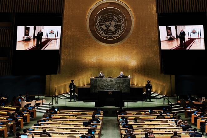 At the United Nations General Assembly, New York, September 21, 2021.