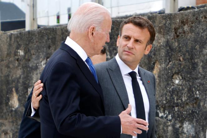 Joe Biden et Emmanuel Macron, le 11 juin 2021.