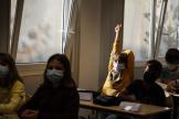 Des enfants sont assis dans une classe à l'école de Strasbourg, le 2 septembre 2021.