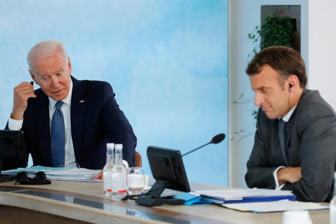 Joe Biden et Emmanuel Macron, le 13 juin à Cornwall.