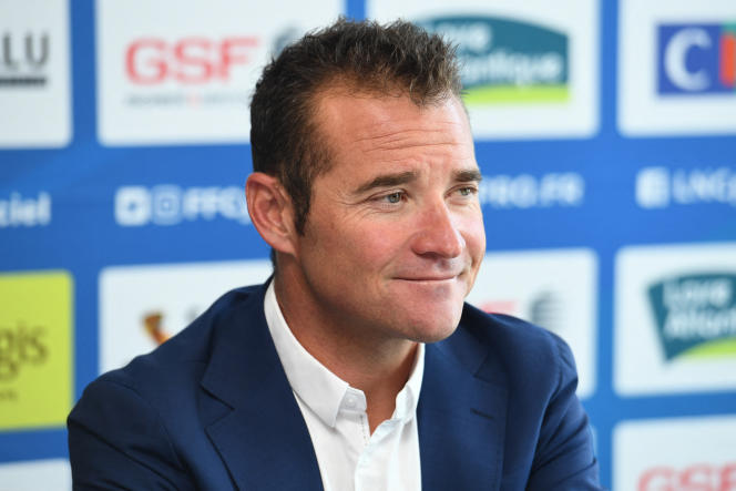 Thomas Voekler, durante la sua presentazione ufficiale come allenatore della squadra ciclistica francese, il 30 giugno 2019, a La Haie-Fouassière (Loire-Atlantique).