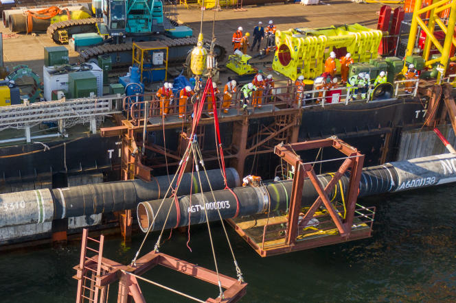 Sur le chantier du gazoduc russe Nord Stream 2, dans la mer Baltique, en septembre 2021.