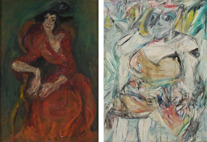 A gauche : «La Femme en rouge» (1923-1924), de Chaïm Soutine, huile sur toile, et à droite : «Femme II» («Woman II», 1952), de Willem De Kooning, huile sur toile.