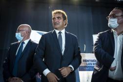 Eric Ciotti, Christian Jacob et Damien Abad lors de la réunion de rentrée des parlementaires LR, à Nîmes, le 9 septembre 2021.