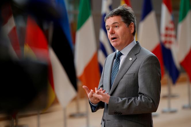 Le président de l'Eurogroupe, Paschal Donohoe, lors du deuxième jour d'un sommet de l'UE à Bruxelles, le 25juin2021.