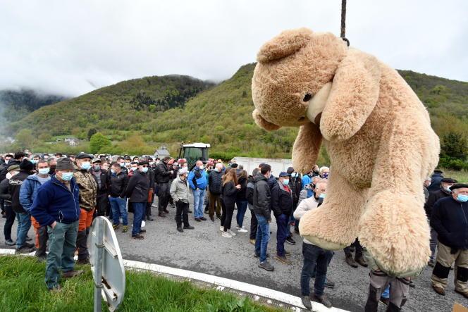 Manifestation contre la réintroduction des ours dans les Pyrénées, près de Arreau (Hautes-Pyrénées), le 29 avril 2021.