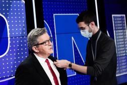 Jean-Luc Mélenchon avant son débat avec Eric Zemmour sur BFM-TV, le 23 septembre.