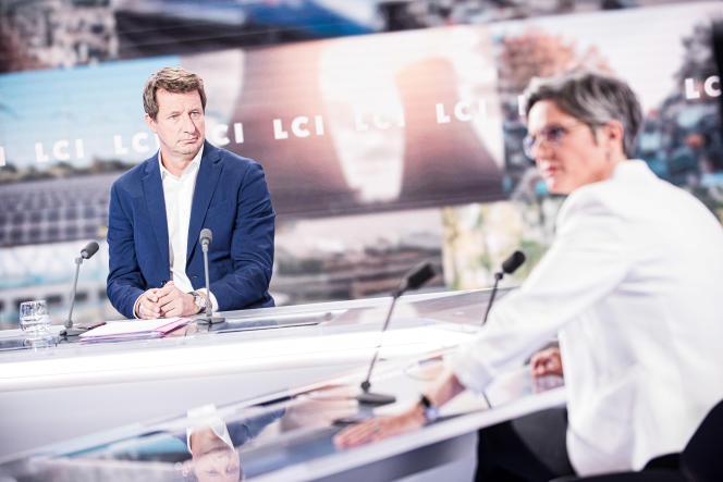 Yannick Jadot et Sandrine Rousseau, le 22 septembre sur le plateau de LCI lors du premier débat d'entre-deux-tours de la primaire écologiste.