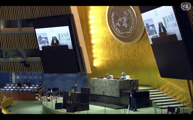 Prezydent Autonomii Palestyńskiej Mahmoud Abbas na 76. sesji Zgromadzenia Ogólnego Narodów Zjednoczonych w Nowym Jorku, 24 września 2021 r.