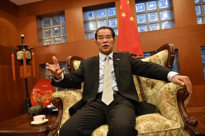 Chinese Ambassador to Sweden Gui Congyou addresses the media November 15, 2019 in Stockholm, Sweden.
