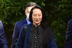 L'ancienne directrice financière de Huawei MengWanzhou sort de sa résidence surveillée à Vancouver (Canada), le 24 septembre 2021.