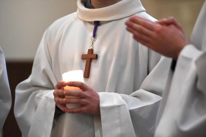 Célébration de la messe à Brest, le 27 mars 2021.