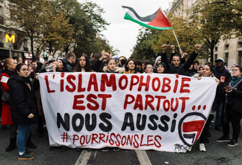 Demonstration against Islamophobia in Paris on 10 November 2019. This demonstration followed the call launched by the CCIF (Collectif contre l'islamophobie en France) and brought together several thousand people. Manifestation contre l'islamophobie à Paris le 10 novembre 2019. Cette manifestation fait suite à l'appel lancé par le CCIF (Collectif contre l'islamophobie en France) et a rassemblé plusieurs milliers de personnes. (Photo by Philippe Labrosse / Hans Lucas / Hans Lucas via AFP)