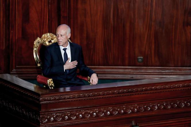 Kaïs Saïed, le président tunisien, lors de sa prestation de serment, le 23 octobre 2019.