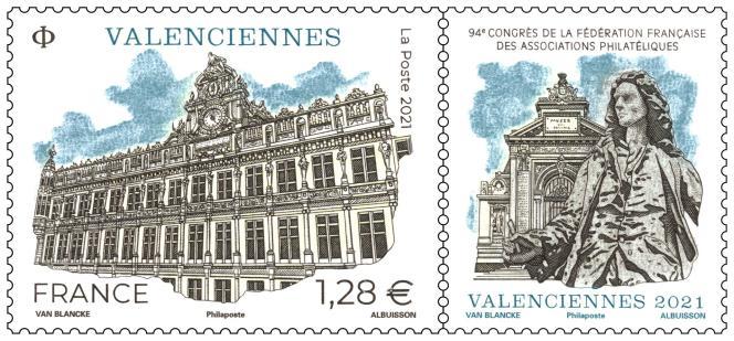 « Valenciennes», timbre en vente générale le 11 octobre. Dessin: Benjamin Van Blancke. Gravure: Pierre Albuisson. Impression en taille-douce.
