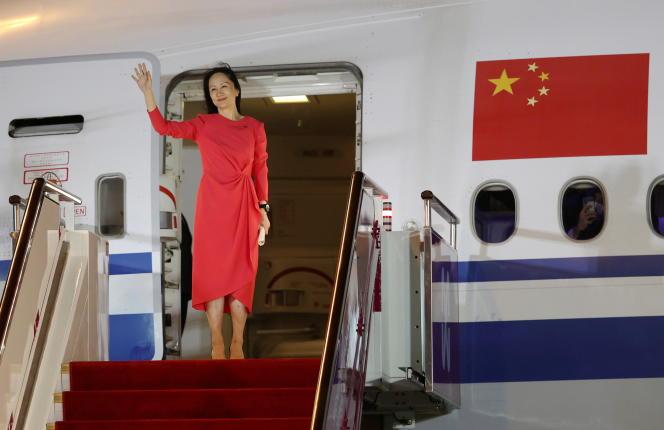 Huawei CFO Meng Wanzhou bei der Ankunft am Flughafen Shenzhen, China, am 25. September 2021.