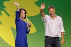 Les dirigeants des Verts, Annalena Baerbock et Robert Habeck, après l'annonce des résultats des élections, à Berlin, le 26 septembre 2021.