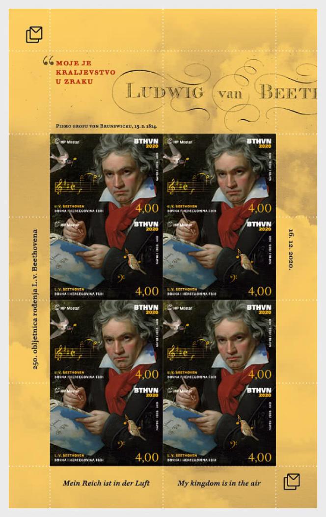 « Beethoven»: timbre émis par la République croate d'Herceg-Bosna, province autonome de Bosnie –Herzégovine