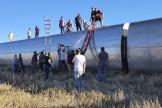 Les secours sur le lieu du déraillement d'un train, samedi 25 septembre 2021, dans le Montana, aux Etats-Unis.