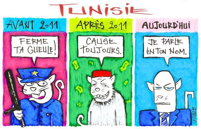 Dessin paru en « une » du « Monde » le 28 septembre, signé par la dessinatrice tunisienneWillis from Tunis