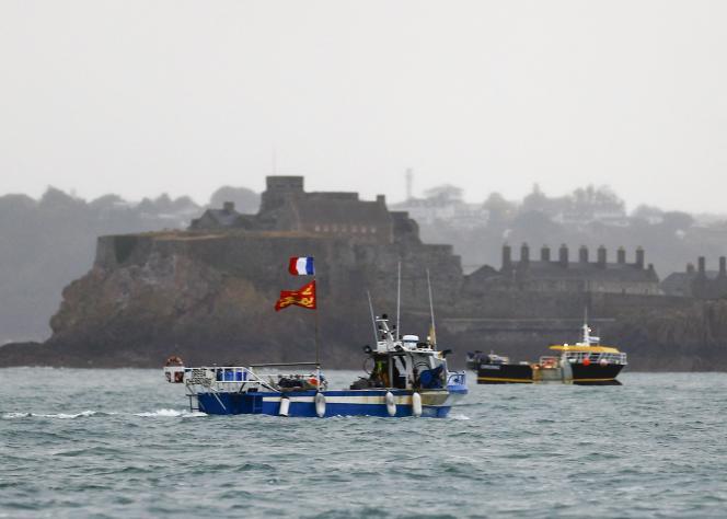 Manifestation de navire de pêche français à Saint Helier, la capitale de l'île Anglo-Normande de Jersey,le 6 mai 2021.