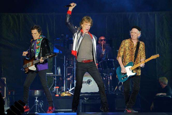 Mick Jagger, Keith Richards et Ron Wood des Rolling Stones en concert à Saint Louis, aux Etats-Unis, le 26septembre2021.