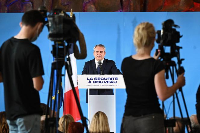 Xavier Bertrand, président des Hauts-de-France et candidat à la présidentielle, à Saint-Quentin, le 15 septembre 2021.