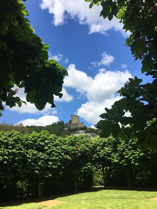 Vue du donjon du château de La Roche-Guyon, dans le Val-d'Oise, depuis une chambre de verdure attenante au potager.