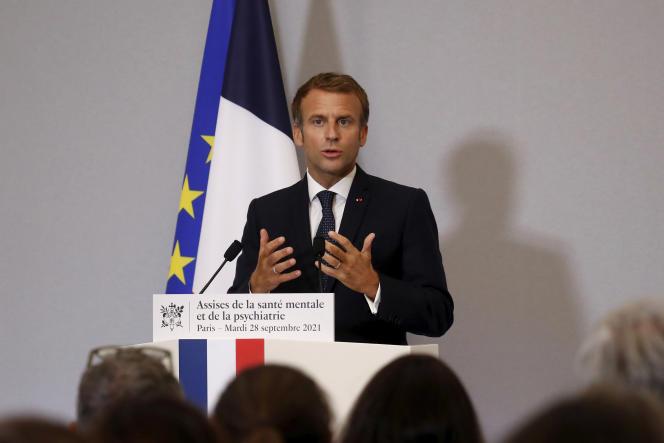 Emmanuel Macron, à la convention nationale sur la santé mentale et la psychiatrie, à Paris, le 28septembre 2021.