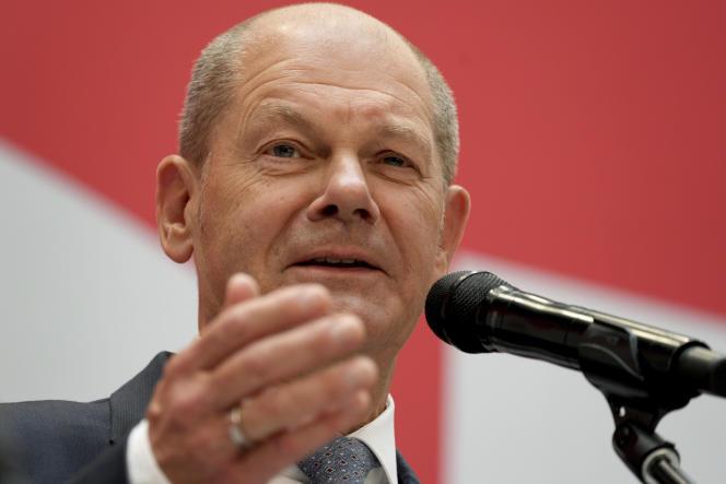 Olaf Scholz, candidat du SPD à la chancellerie, lors d'une conférence de presse au siège du parti à Berlin, le 27 septembre 2021.