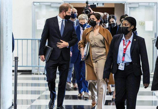 Le prince Harry et Meghan Markle, au siège des Nations unies, à NewYork, le 25septembre 2021.