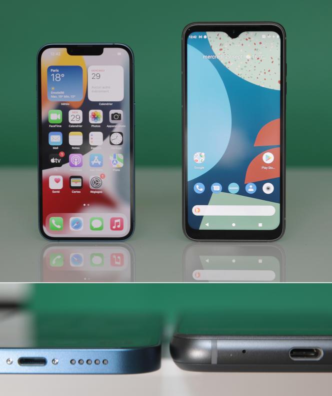 A gauche, le tout dernier iPhone (8 mm d'épaisseur, 147 mm de long). A droite, le Fairphone 4 (11 mm d'épaisseur, 162 mm de long).