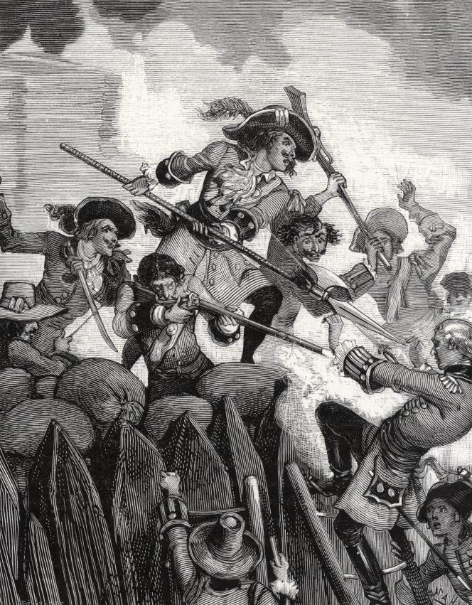 Un combat rapproché dans les Caraïbes, à la fin du XVIIe siècle. Illustration du XIXe siècle
