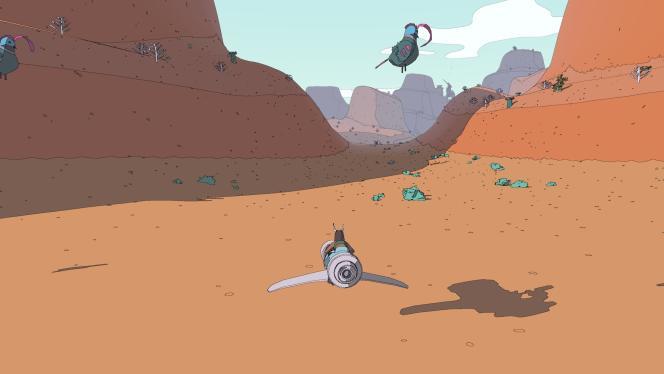 Exemple d'un petit bug rencontré dans « Sable» : des oiseaux, les ailes repliées, qui lévitent au lieu de se trouver sagement au sol.