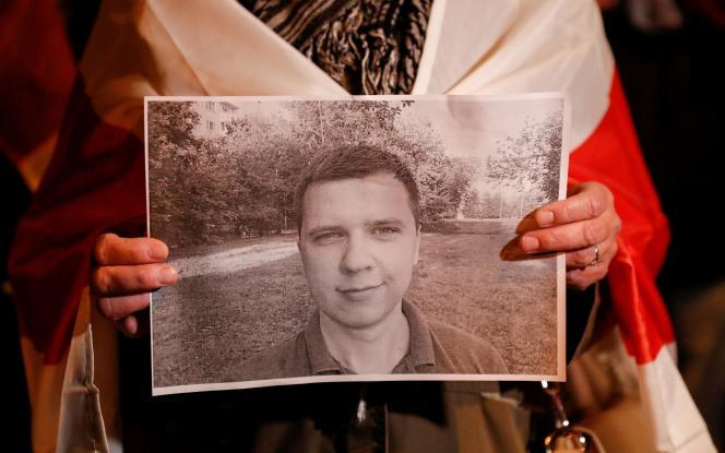 Manifestation de soutien à Andreï Zeltser, à Kiev (Ukraine), le 29 septembre 2021. L'opposant biélorusse a été tué la veille. Il aurait abattuDmitri Fedosiouk, un officier du KGB, les services de sécurité de la Biélorussie.