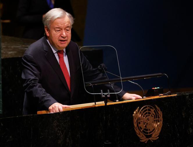 Le secrétaire général des Nations unies, Antonio Guterres, à la tribune de l'Assemblée générale de l'ONU, le 22 septembre 2021, à New York, siège de l'organisation.