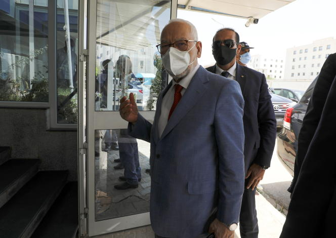 Le président du Parlement, Rached Ghannouchi, au siège du parti Ennahda, à Tunis, le 29juillet 2021.