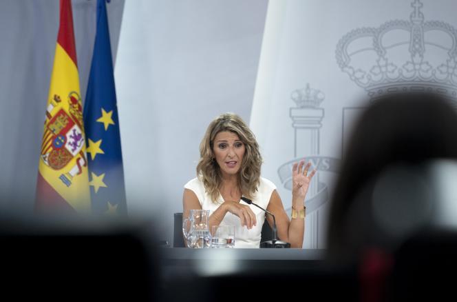 Yolanda Diaz, ministre du travail espagnole, à Madrid, mardi 28 septembre.