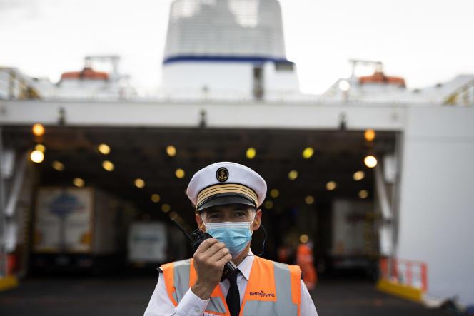 Erwan Aballea, le second du ferry «Armorique», de Brittany Ferries, à Saint-Malo (Ille-et-Vilaine), le 7 septembre 2021.