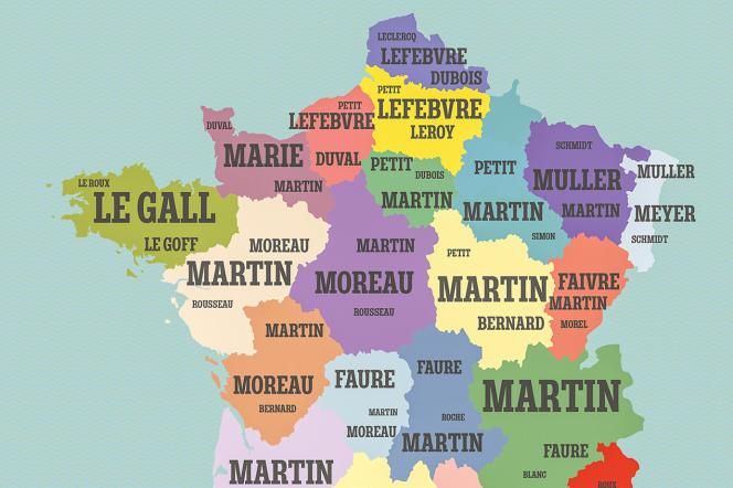 Une des cartes du livre «Cartomania France», qui répertorie les noms de famille les plus courants par région.