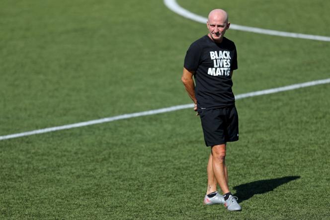 L'entraîneur du North Carolina Courage, Paul Riley, le 17 juillet 2020, auZions Bank Stadium, à Herriman dans l'Utah (Etats-Unis).