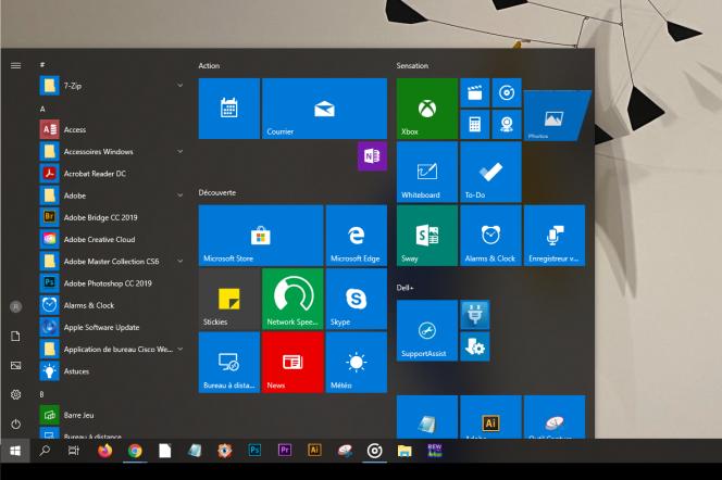 Le menu « Démarrer» de l'actuel Windows 10 est surchargé de tuiles à la lisibilité passable.