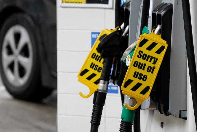 A gas station displays at its pumps in Baker Street in central London on October 2, 2021: