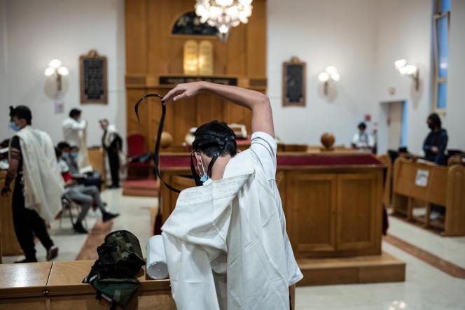 Dans la synagogue de l'école Ohr-Torah, à Toulouse, le 30 septembre 2021.